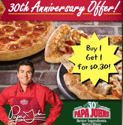 Papa Johns Buy 1 Large Pizza Get 1 For 0.30! Papa