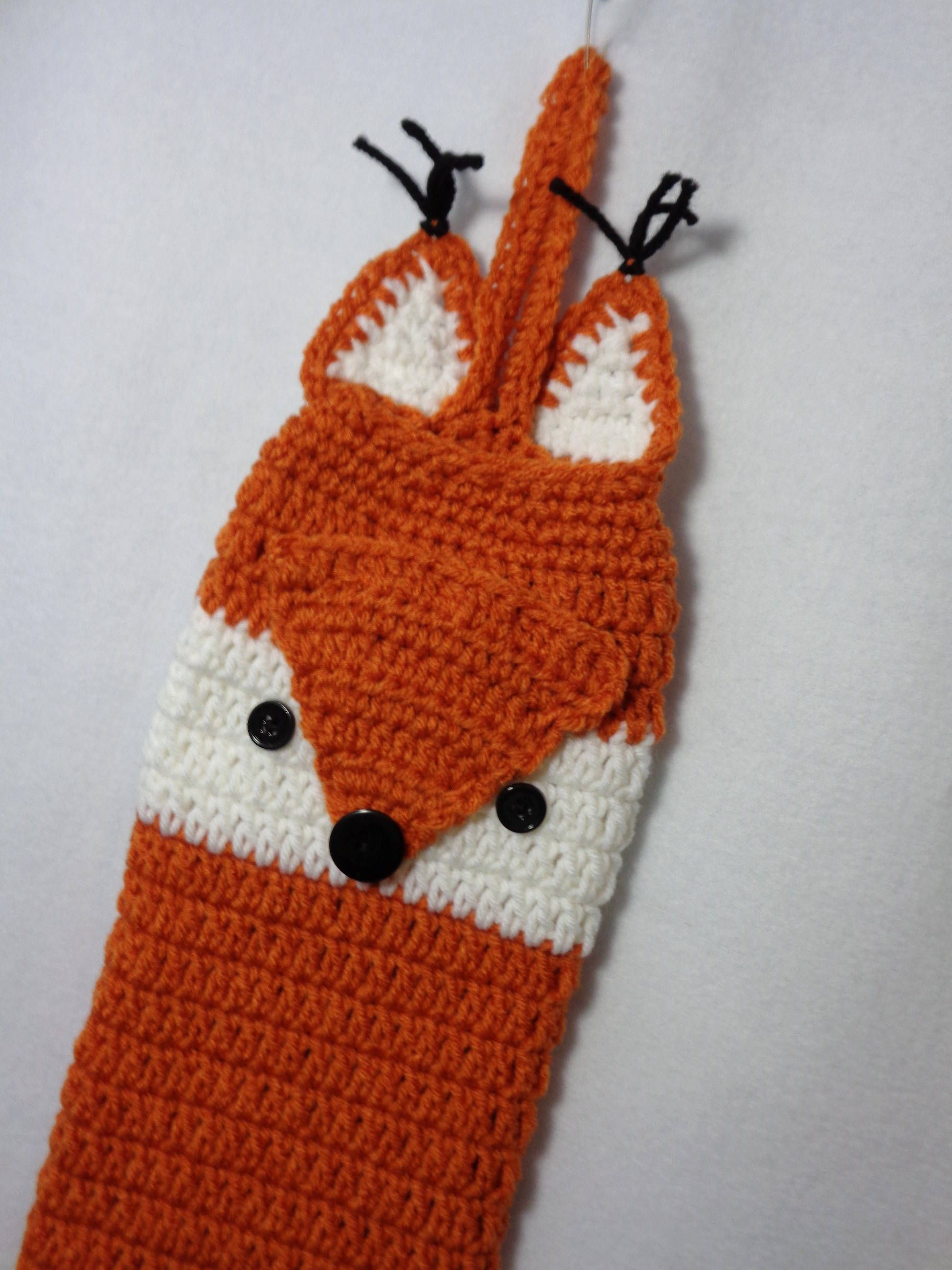 Crochet fox plastic bag holder fox kitchen decor in dark