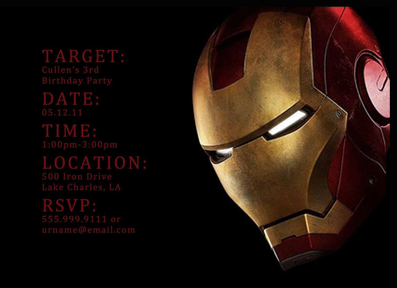 Iron Man Digital Birthday Invitation - 4 Designs to choose from ...