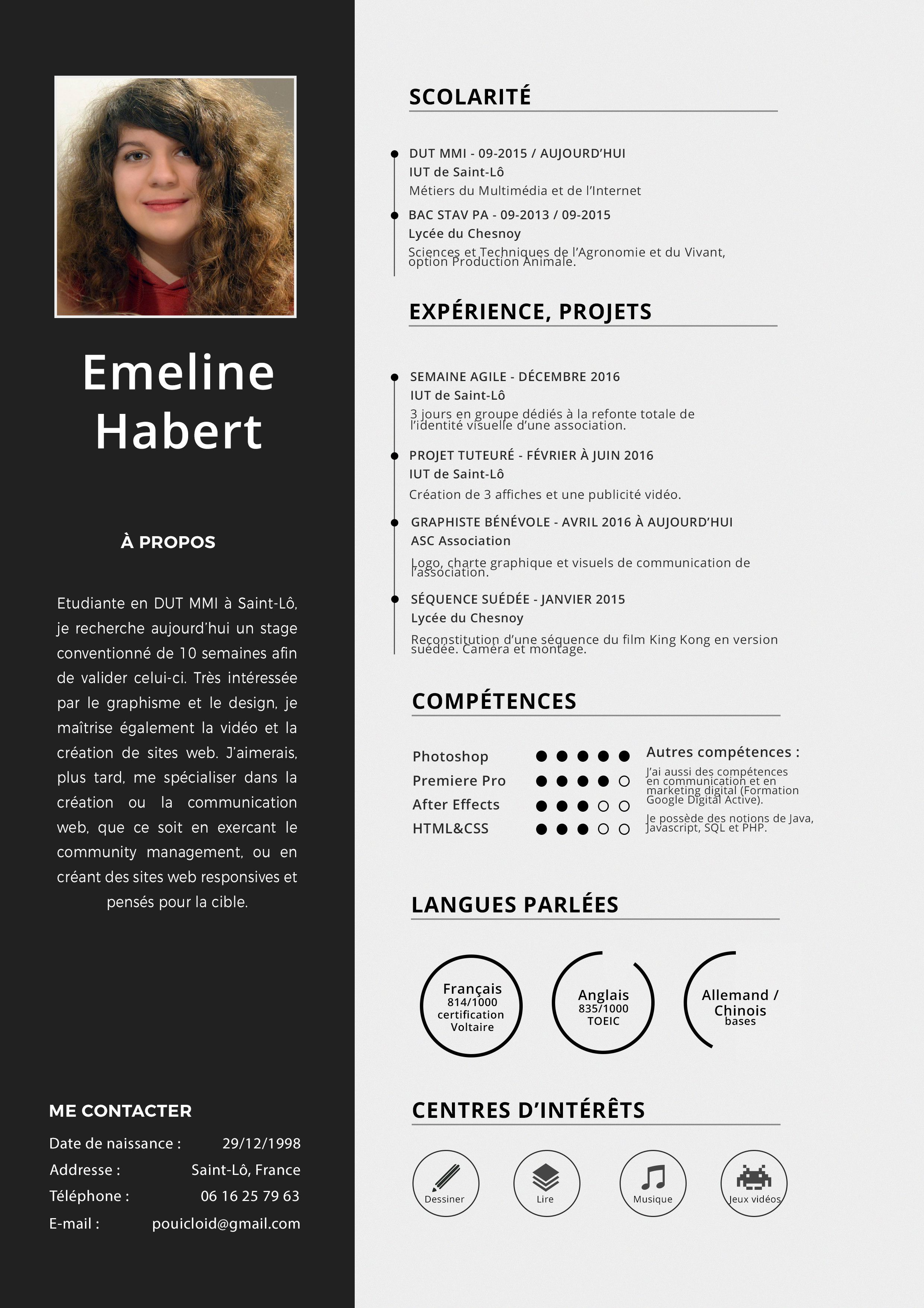 Emeline Habert On Behance Le Cv Cv Graphique Scolarite