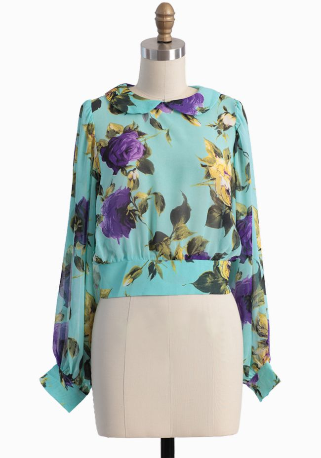 turquoise floral chiffon blouse $36.99