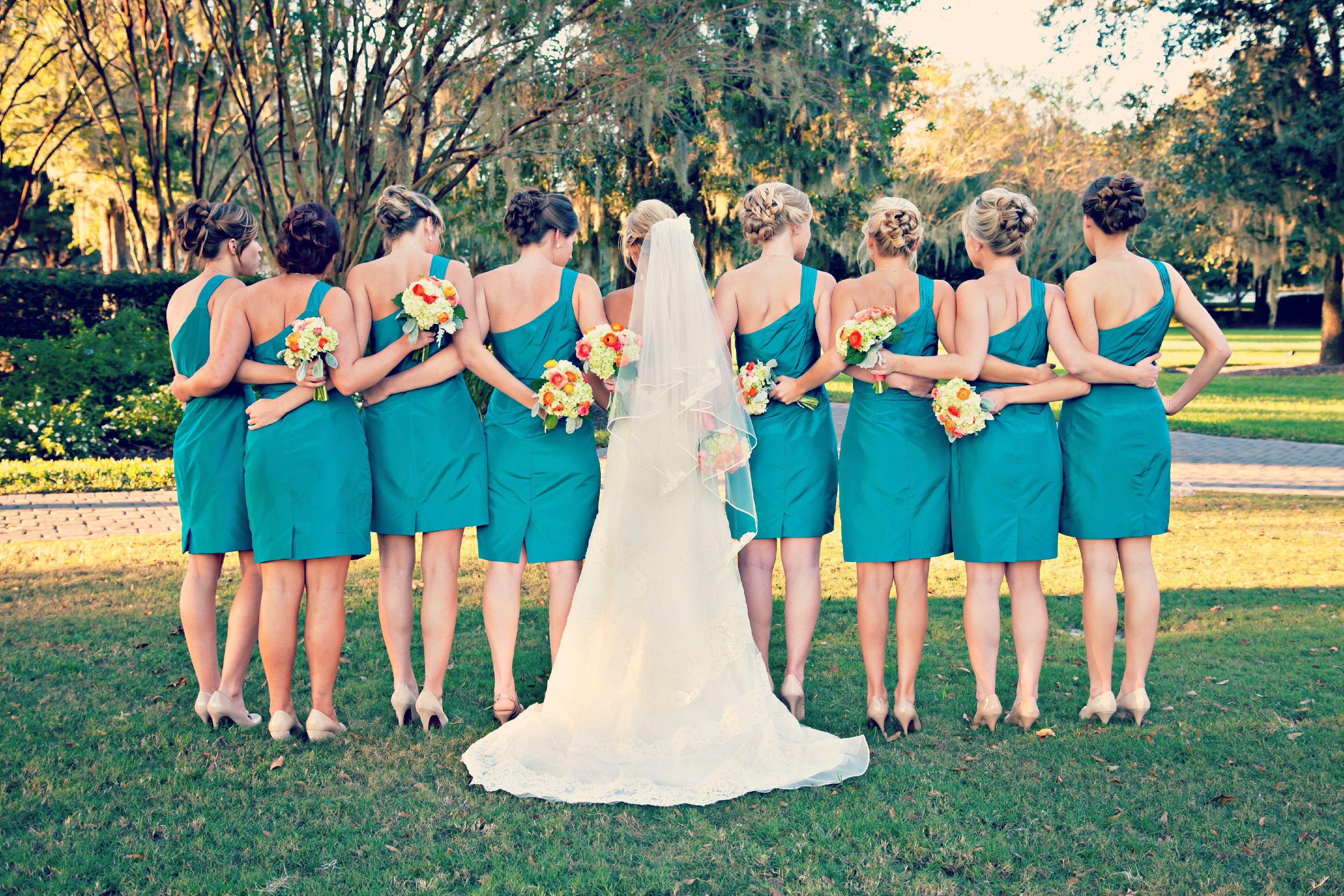 Bridesmaids in Teal - Rustic Outdoor Florida Wedding - J Crew ...
