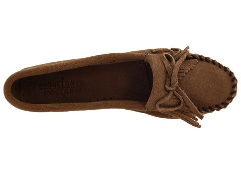 Minnetonka Kilty Suede Moc Taupe Suede - Zappos.com Free Shipping BOTH Ways