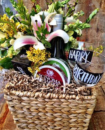 Birthday Basket Flowers Wine Or Martinellis Glasses With Chalkboard Paint Crackers Cheese Idea
