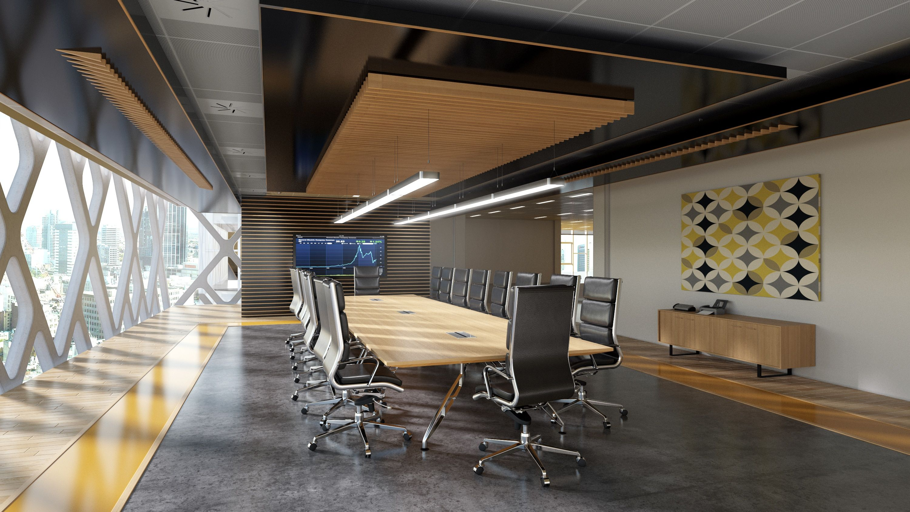 Modern Boardroom With 20 Person Boadroom Table And Black