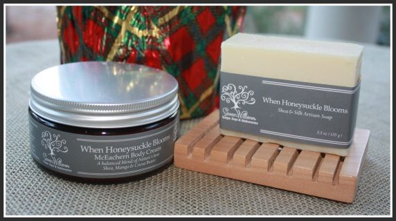 This gift bundle includes our 8 oz organic shea, mango and cocoa butter body cream (honeysuckle) along with a soap deck and our When Honeysuckle Blooms natural soap.