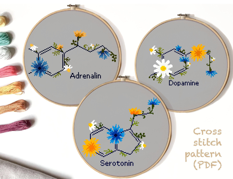 Photo of Hormone floral cross stitch pattern modern, serotonin dopamine adrenaline flower, atomic, anatomy, science, molecule, instant download PDF