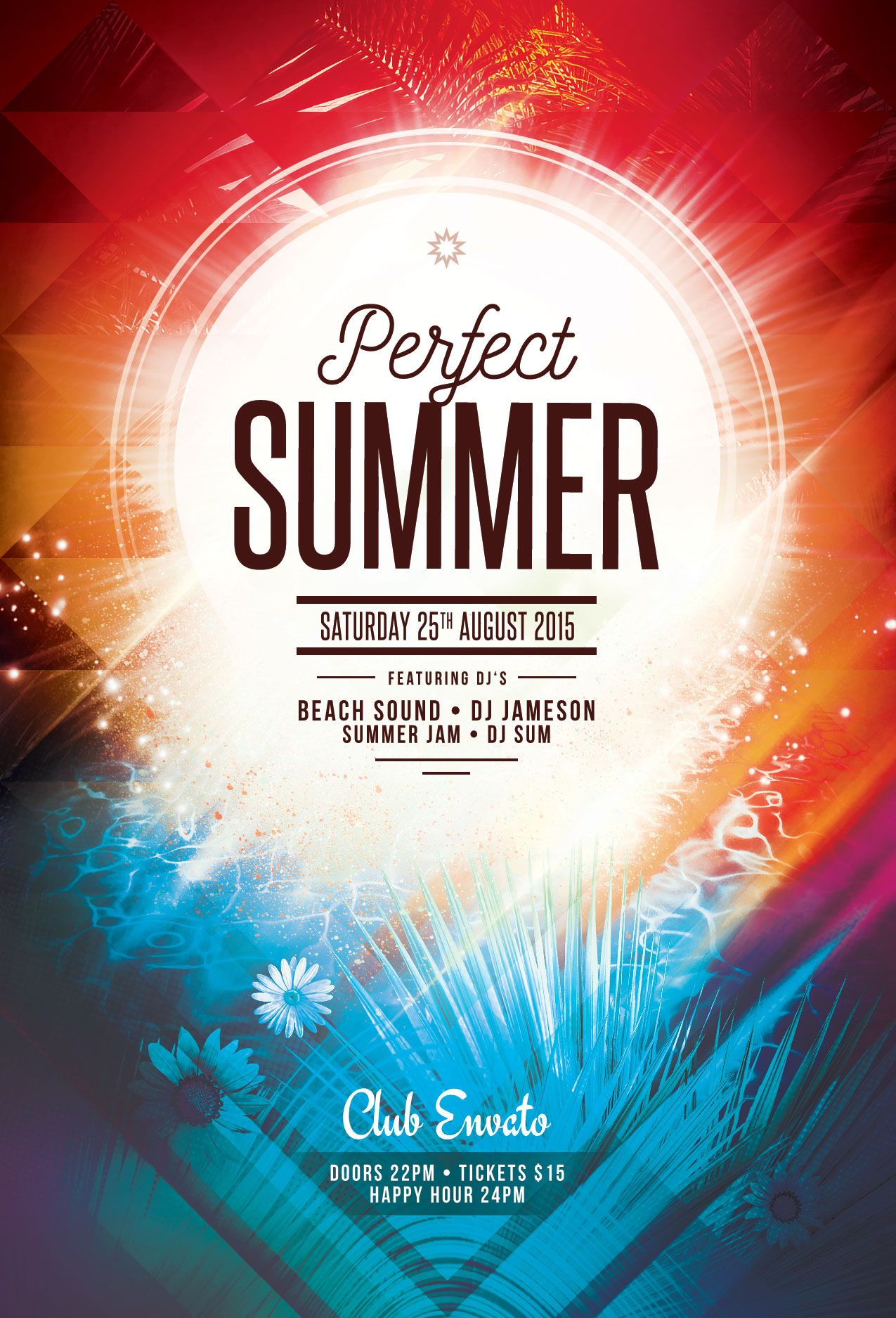 Perfect Summer Flyer Template. Download PSD File   $6