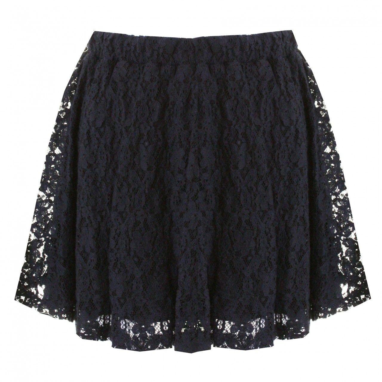 LOVE Navy Short Lace Skirt