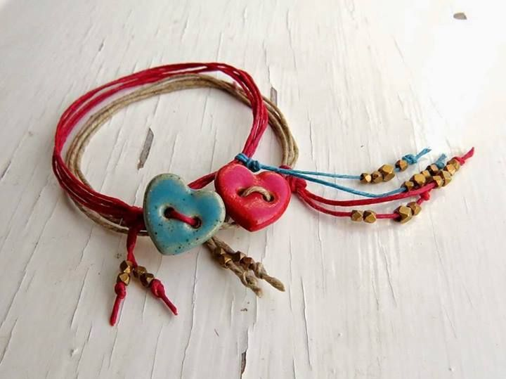 Lovely waxed cord bracelets with ceramic heart beads from The Curious Bead