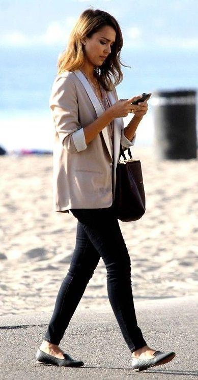 blazer, skinny jeans, and ballet flats