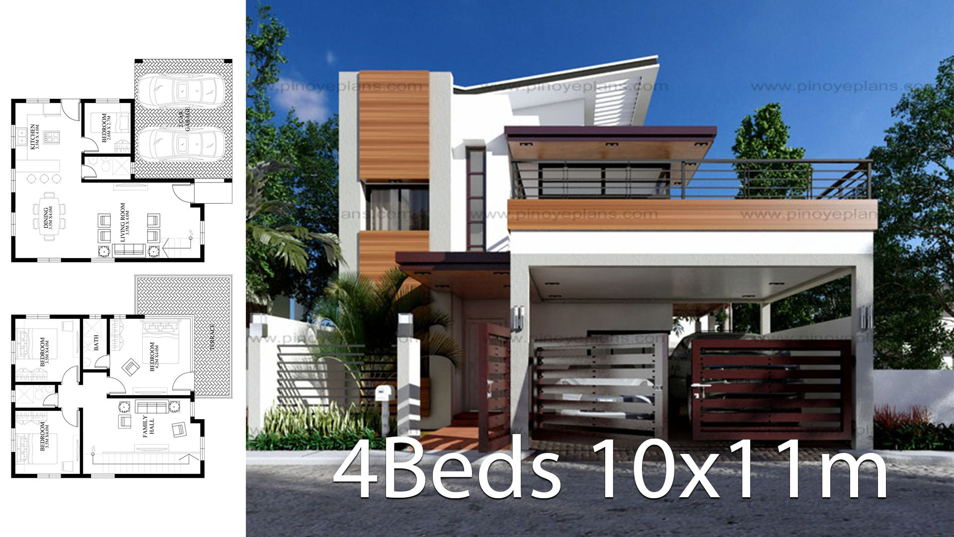 Modern Home Design 10x11m With 4 Bedrooms Style Modernhouse Description Two Car Parking And Gardenground Le Modern House Design Modern House One Bedroom House