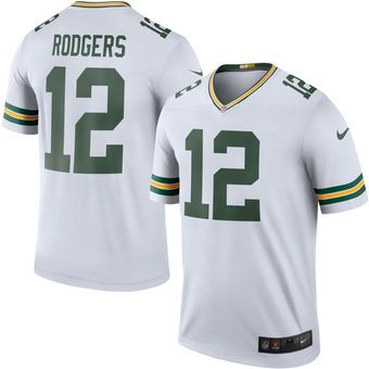 23 Men s Green Bay Packers  12 Aaron Rodgers Nike White Color Rush Legend  Jersey e16a9708a
