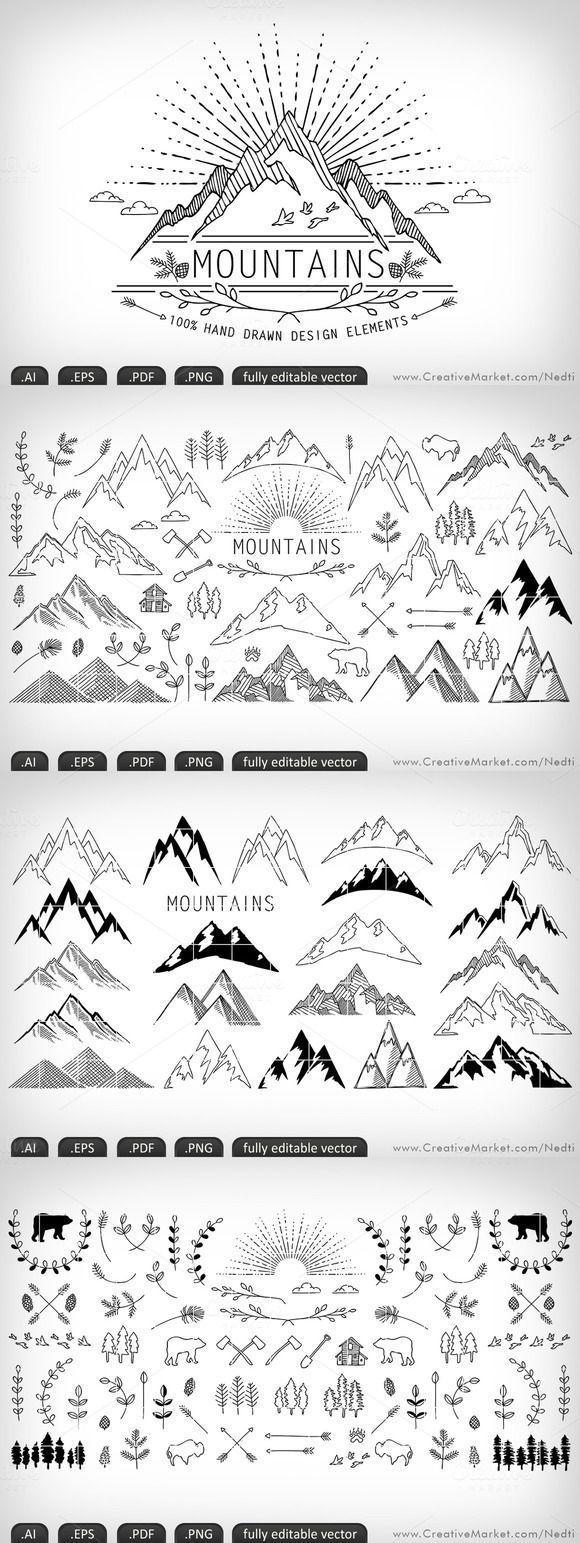 Photo of Berge handgezeichneten BEARBEITBAREN VEKTOR von Nedti auf Creative Market – Emma Fisher Zeichnungen zu malen