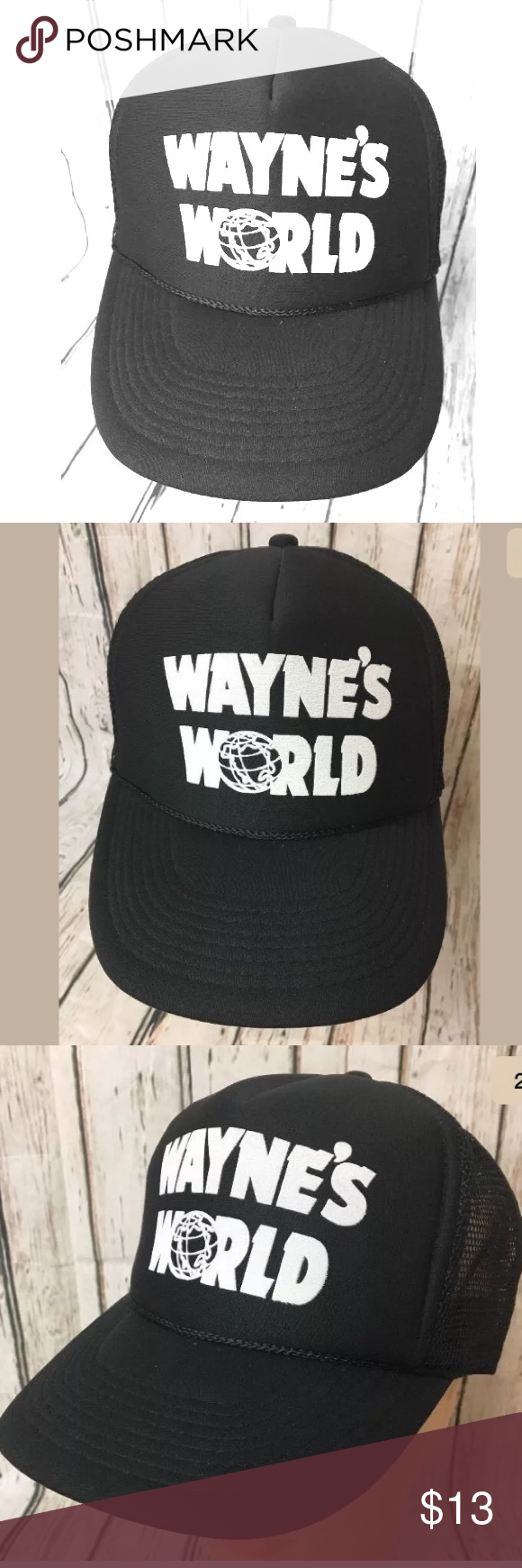 c52a5755193 Wayne s World Hat Wayne s World Black SnapBack Trucker Hat