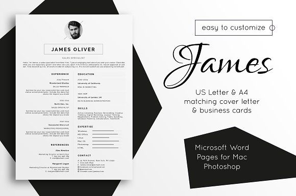 Resume Template Cover Letter James @creativework247 Resume Fonts