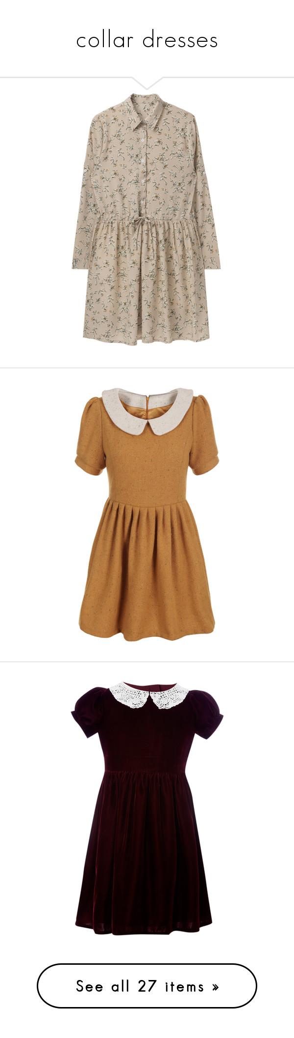 Yellow dress long sleeve  collar dresses
