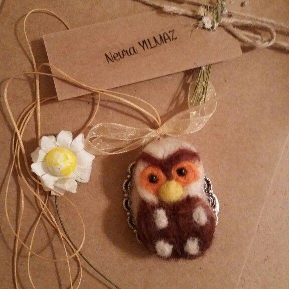 Needle felting Owl pendant