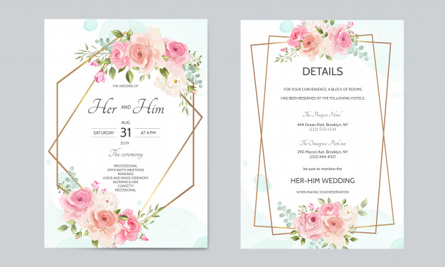 Wedding Invitation Card Template Set With Golden Border And Beautiful Floral Leaves Wedding Invitation Cards Wedding Cards Fun Wedding Invitations