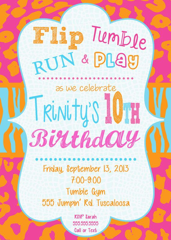 Girly Invitation Older Girl Party Invitation Bright Colors – Girly Party Invitations