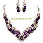 Purple Crystal Statement Necklace Elegant Bridal Jewelry