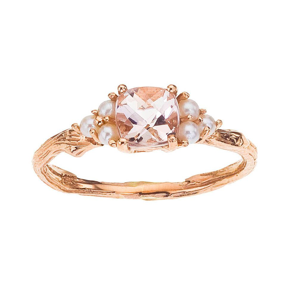 Pearl And Diamond Engagement Rings: Rose Gold Ring Morganite And Pearl For Engagement Or By