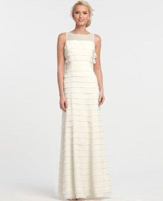 74655426ba Silk Georgette Tiered Sleeveless Wedding Dress