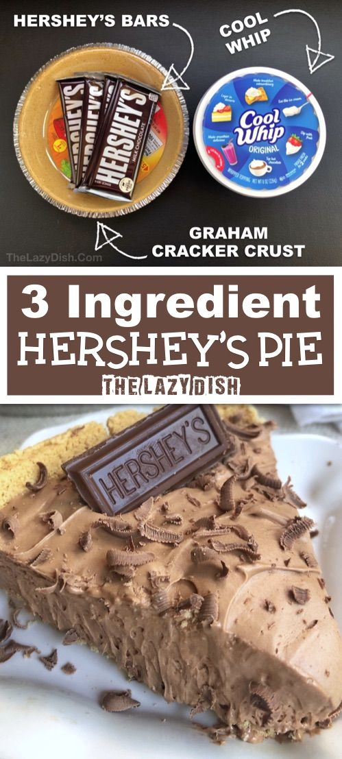 3 Ingredient No Bake Chocolate Pie  Looking for quick and easy dessert recipes This one is always a crowd pleaser Made with Cool Whip Hersheys and a graham cracker crust...