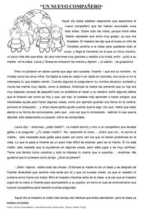 Cuento corto un nuevo compa ero comprensi n lectora for Espanol lecturas cuarto grado 1993