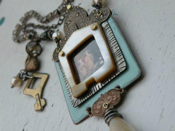 Framed (vintage mother of pearl belt buckle) by Diane Cook