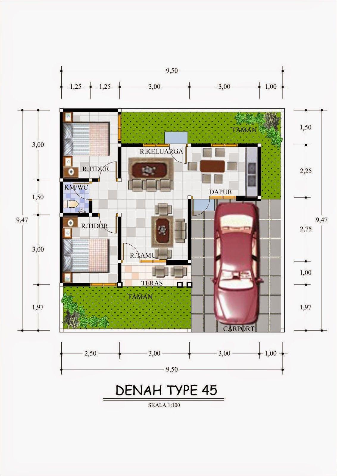 Rumah Minimalis Type 45 Denah Rumah Denah Rumah 3d Rumah Minimalis