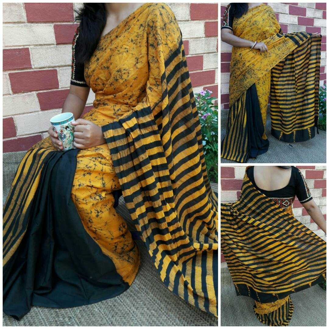 New Collection Of Cotton Batik Print Sarees With Blouse
