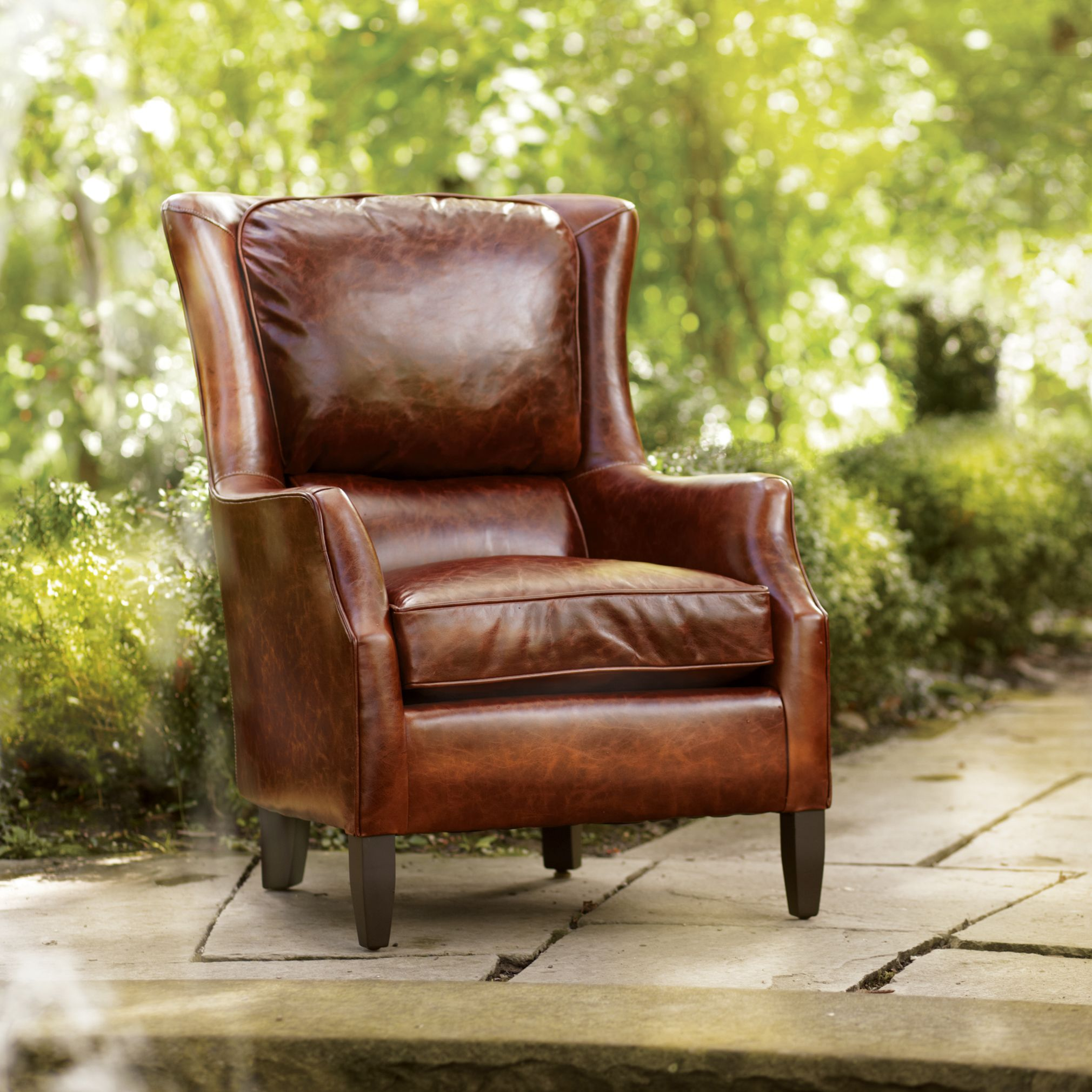 Brown Leather Chair Living Room Chairs