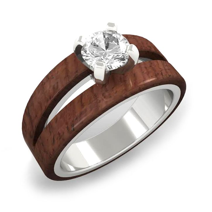 Split Wood Engagement Ring With Moissanite In White Gold