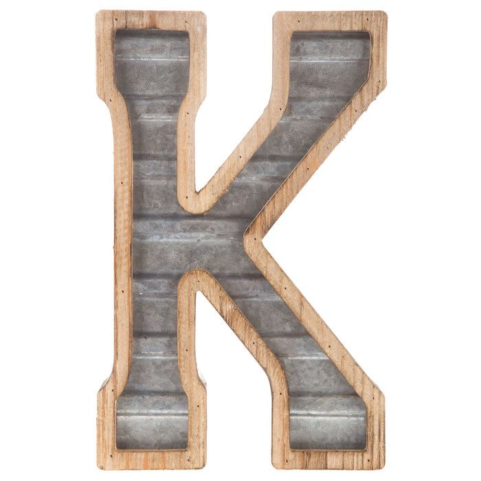 Galvanized Metal Letter Wall Decor - K