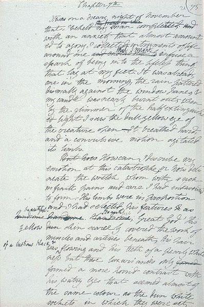Manoscritto di Frankenstein - Mary Shelley