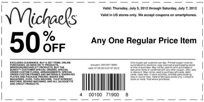 50 Off Printable Coupon At Michaels Wayne Nj Wayneshopper Com