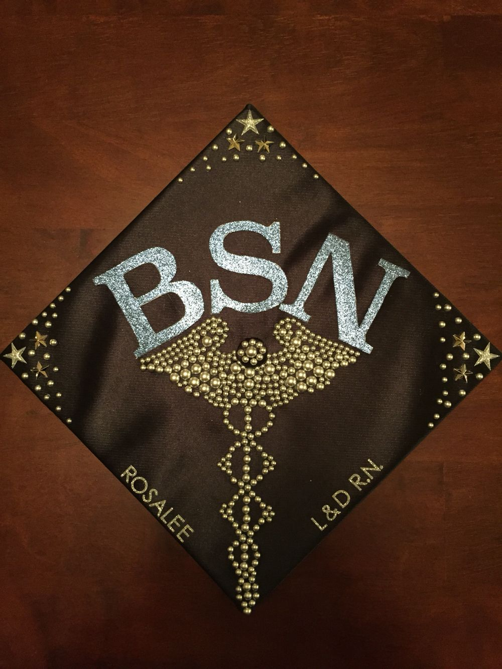 RN BSN graduation cap with caduceus | Nurse graduation cap ...