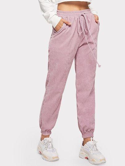 Pantalones De Pana Solidos De Cintura Con Cordon Pantalones Adidas Mujer Moda De Ropa Pantalones De Moda