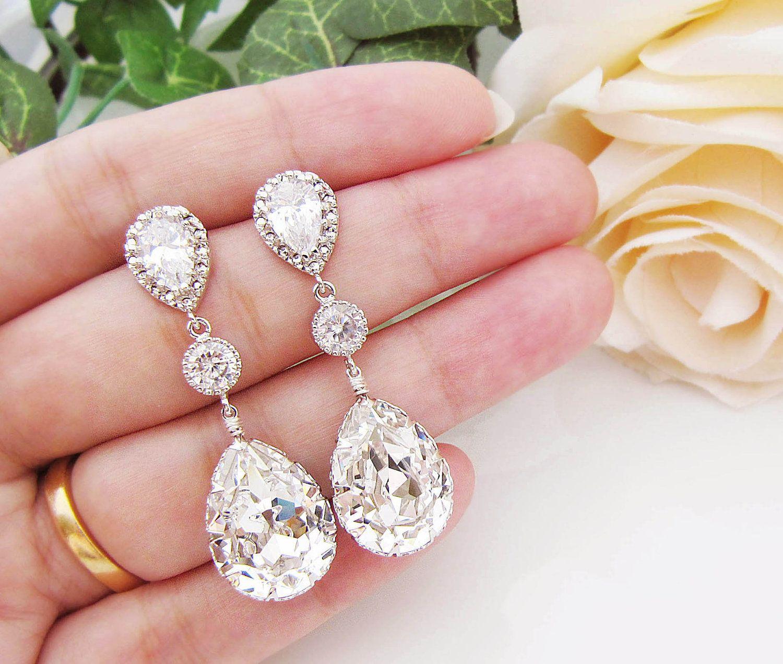 Pendientes para novia | cristal de Swarovski y lágrima de circonita ...