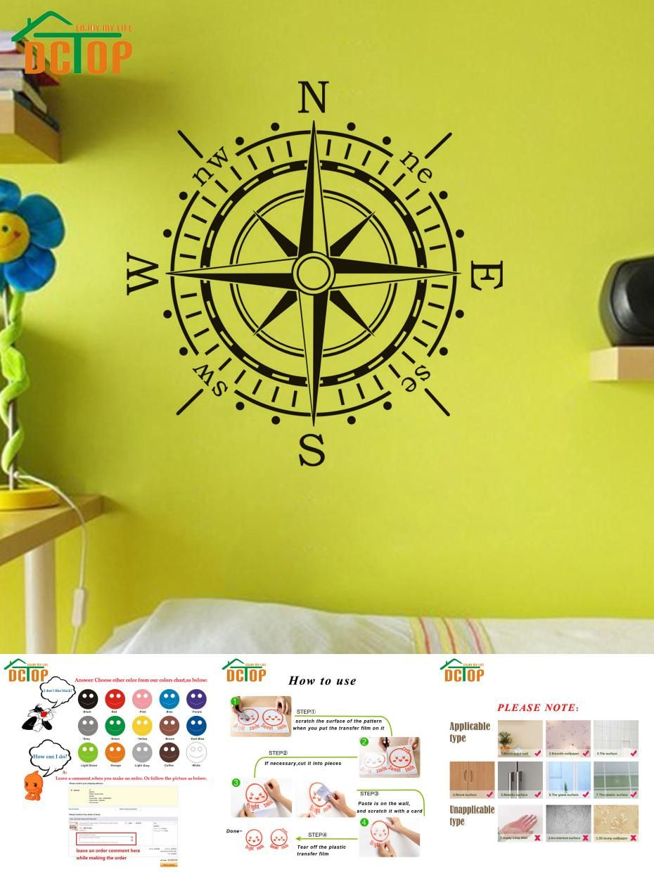 Visit to Buy] DCTOP Compass Wall Sticker Wall Art Vinyl Decal Decals ...