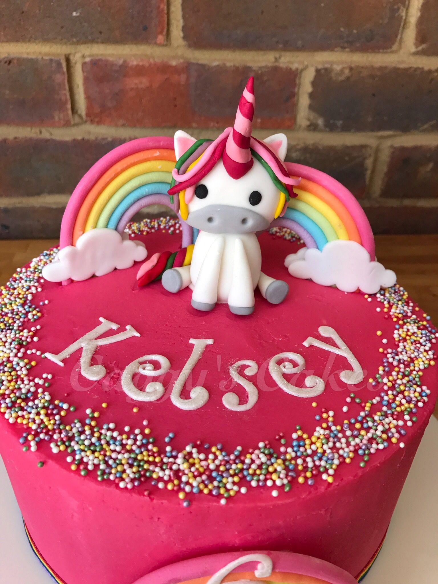 Strawberry buttercream cake with handmade unicorn and ...