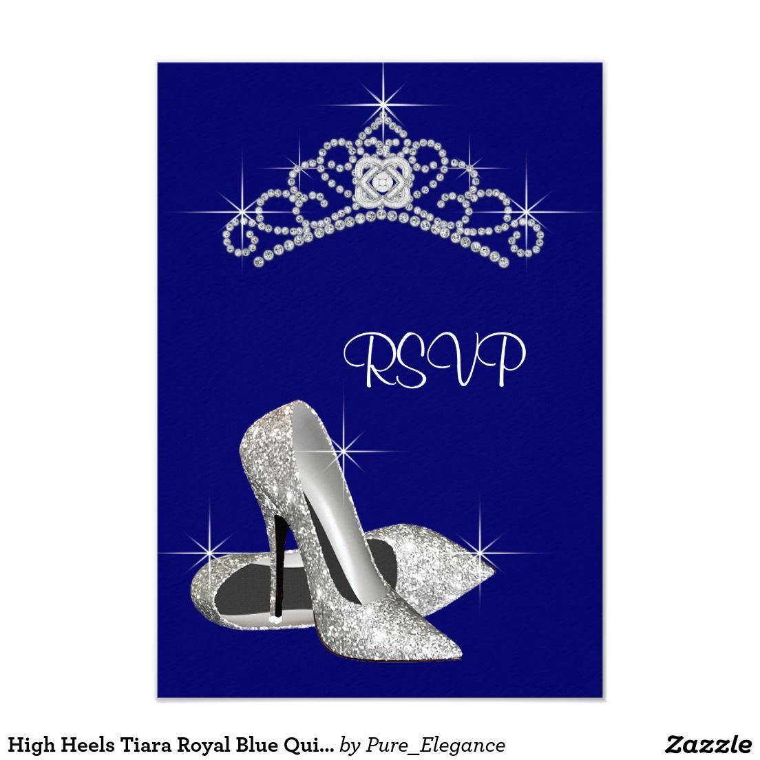 High heels tiara royal blue quinceanera rsvp card rsvp and high heels tiara royal blue quinceanera rsvp 35x5 paper invitation card stopboris Choice Image