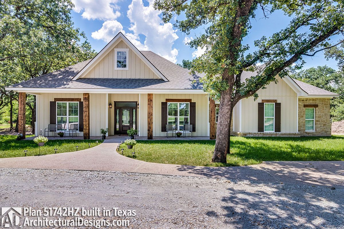 House Plan 51742HZ comes to life with a modified gable in Texas