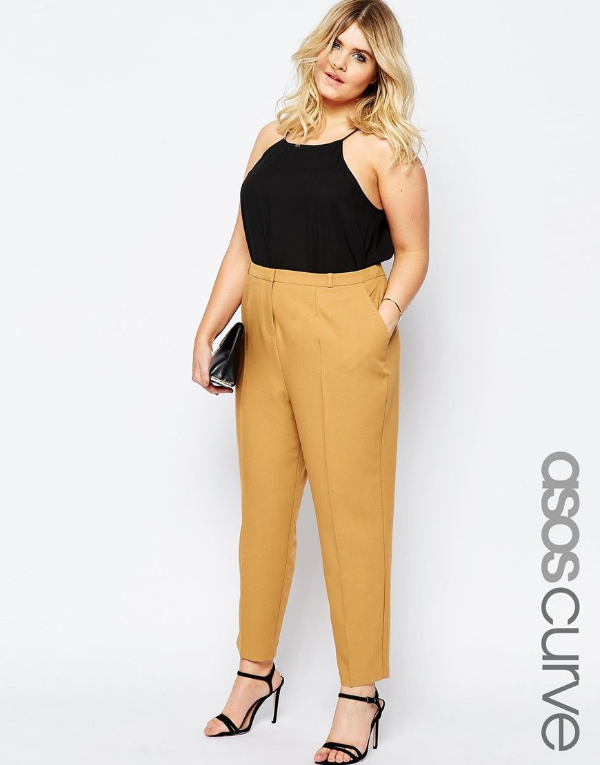 Image 1 of ASOS CURVE Cigarette Pant in Crepe