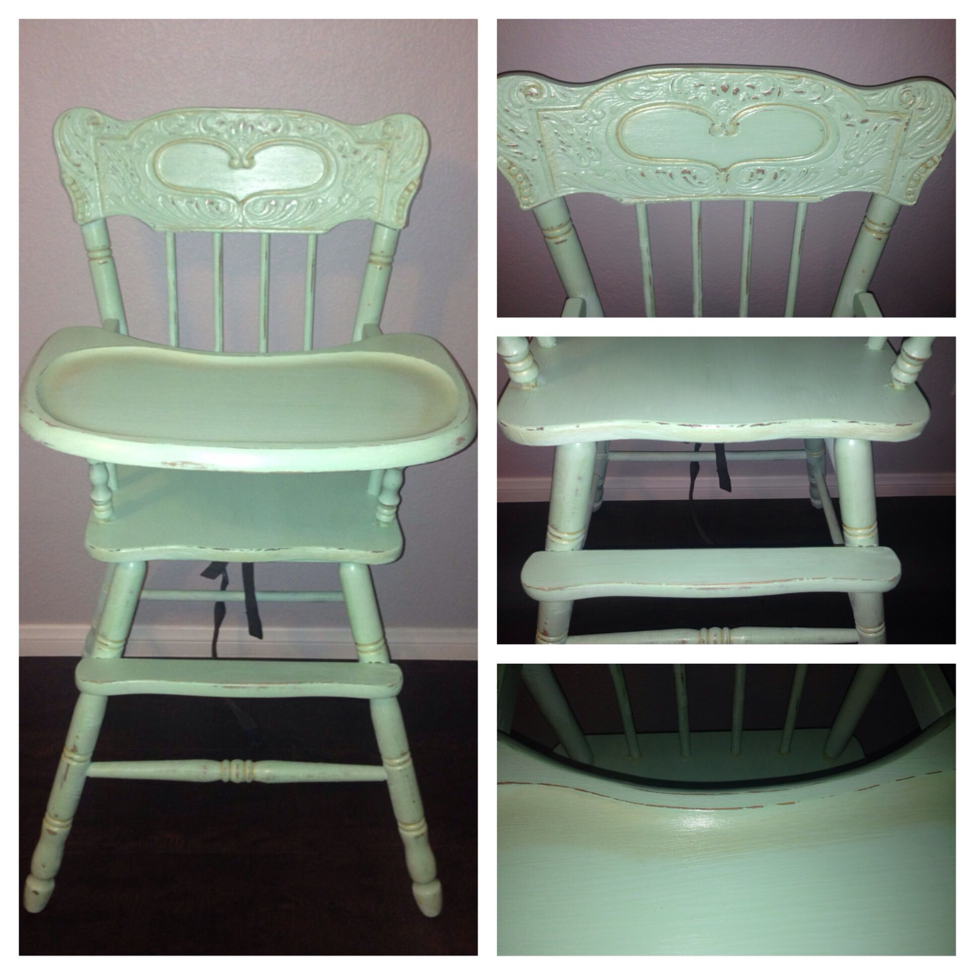 Chalk painted vintage high chair Mint green and gold