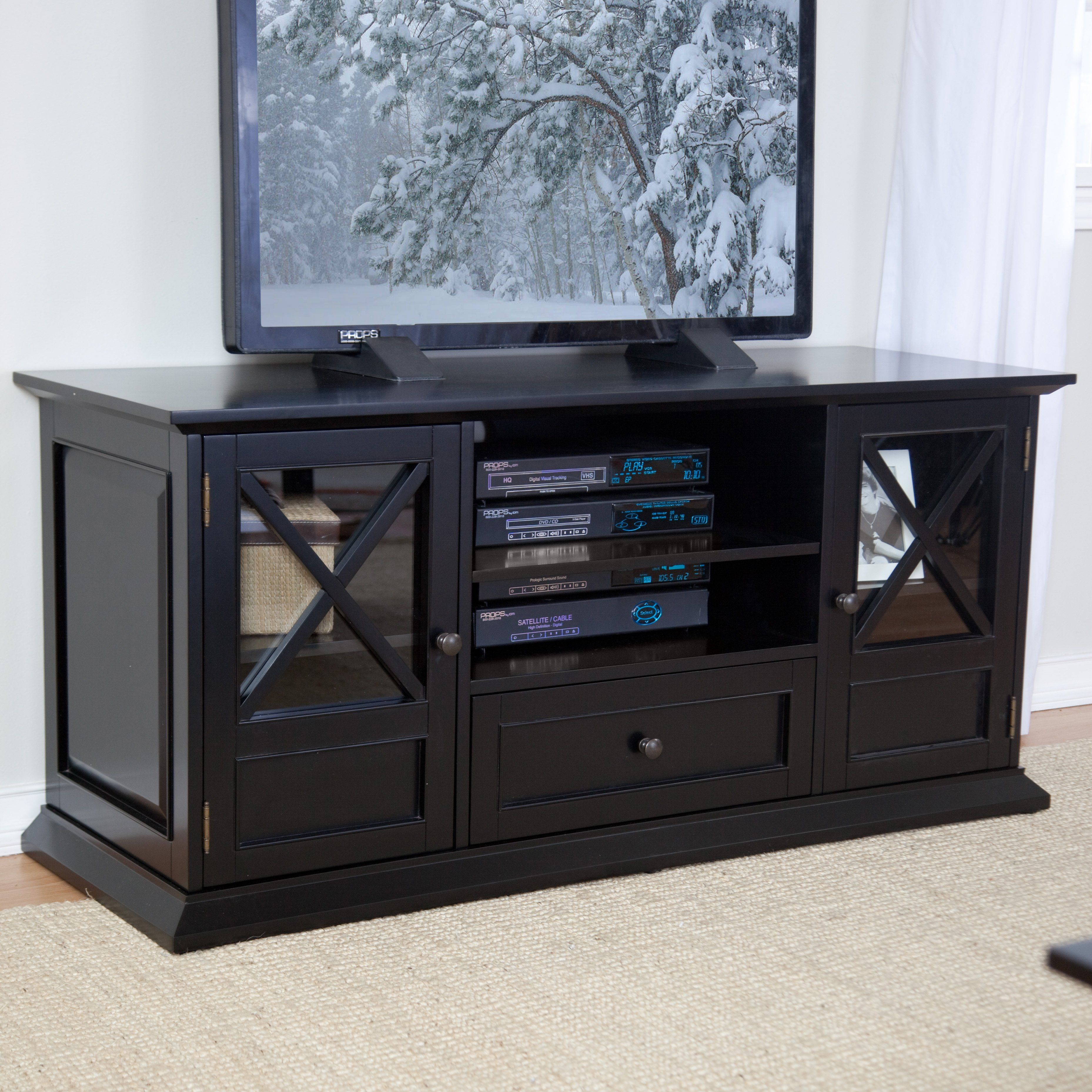 Floor tv stands for 55 inch flat screens - Belham Living Hampton 55 Inch Tv Stand Black Tired Of Mass Marketed Furniture