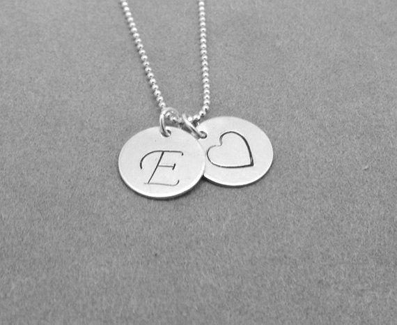 Script Initial Necklace, Heart Necklace, Letter E Necklace