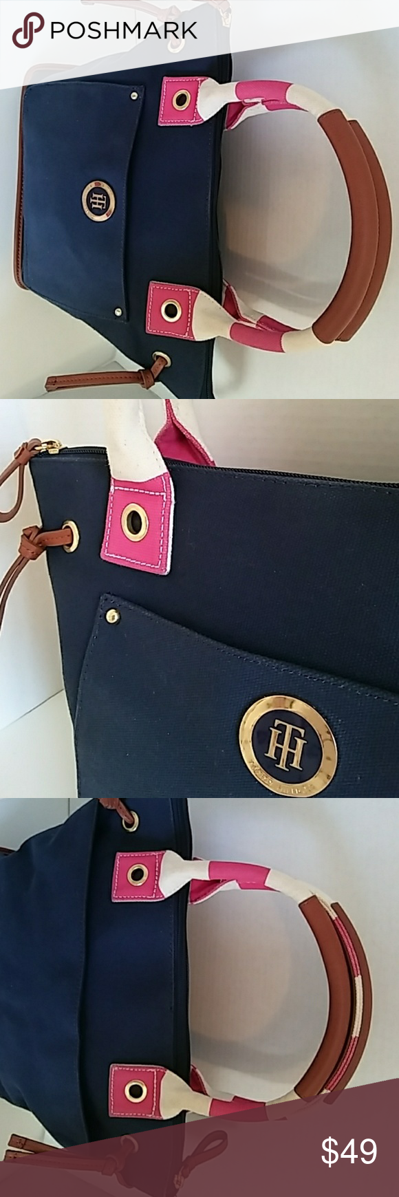 """🔻ONLY$25🔻Tommy Hilfiger CANVAS TOTE SHOULDER BAG Elegant Tomy Hilfiger Canvas Tote Bag. Like New Top Zipper clousure. Imported  😁CLEARANCE  -  ONLY 3 DAYS - FINAL 💓LIKE ME / find me.   🔎@fashionlulys.  .99 cents 🚚 shipping  +  💵 $5  in your balance account - inmediate -  when you download the free Poshmark app on your cell and sign up under INVITE CODE UBCYB""""🚩 (sing up must done trough app) 😁Super-Easy! Tommy Hilfiger Bags"""
