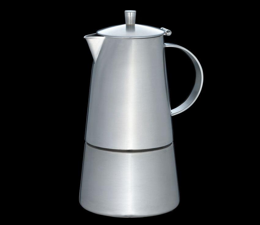 Cilio Espressokocher Modena 6 Tassen für 4 und 6 Tassen Espresso, Edelstahl matt, mit Planboden, auch für Induktion geeignet (abhängig vom Mindestdurchmesser der Topferkennung Ihres Herdes)